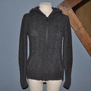 BCBGMAXAZRIA Charcoal Alpaca Sweater Hoodie [F3]